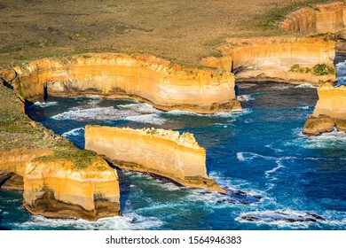 An aerial view of the Razorback, a rock stack within Port Campbell National Park, Victoria, Australia.