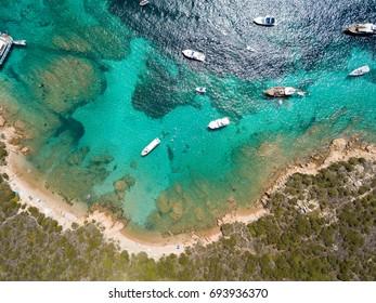 Aerial view of  Razzoli island and Santa Maria island, Maddalena