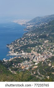 aerial view of Recco, small town in mediterranean sea, Italy