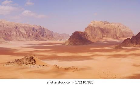 Aerial view of Red Dune in the desert of Wadi Rum, Jordan.