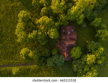 Aerial view of red roof house