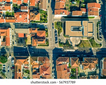 Aerial View Red Tiles Roofs city Montemor-o-Novo, Portugal