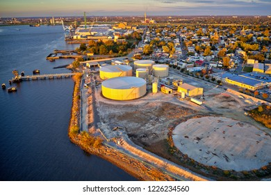 Aerial View of Refinery Along Delaware River New Jersey