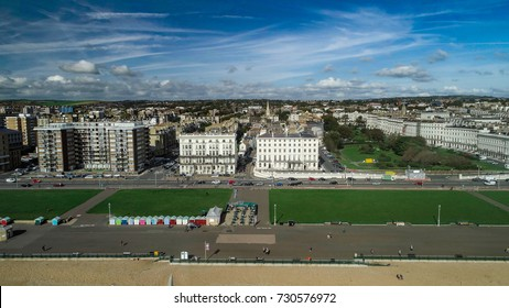 Aerial view of the regency seafront in Brighton and Hove, Southern England
