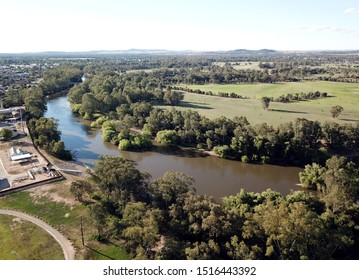Aerial view of the regional country city of Wagga Wagga and Murrumbidgee River. Wagga Wagga is a major regional city in the Riverina region of New South Wales, Australia.