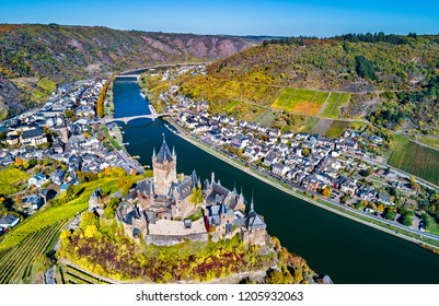 Aerial view of Reichsburg Cochem, a famous castle in Rhineland-Palatinate, Germany