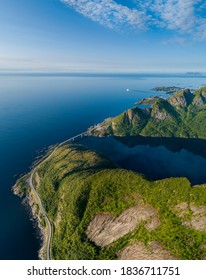 Aerial view of Reinebringen and crown of Lofoten in distance. Captured from above.
