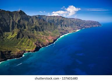 Aerial View of the remote Na Pali Coastline