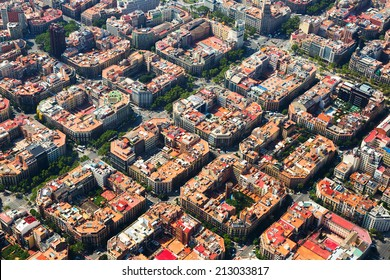 Aerial view  of  residence districts in european city. Eixample  district. Barcelona,  Spain