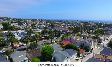 Aerial view of residential area in Corona del Mar California and Pacific Ocean