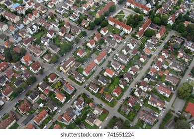 Aerial view of residential area in Friedrichshafen, Germany