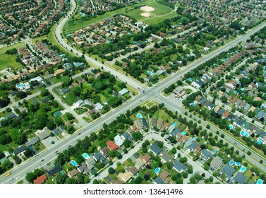 Aerial view of residential area in typical suburb home community in Ontario, Canada
