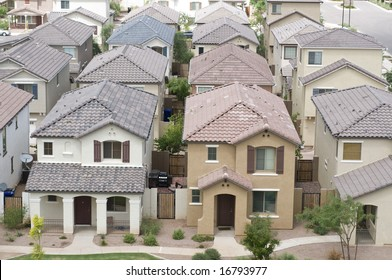 Aerial view of residential area in typical suburb home community