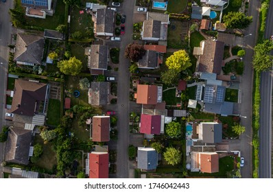 Aerial view of a residential area of a village or town in Europe