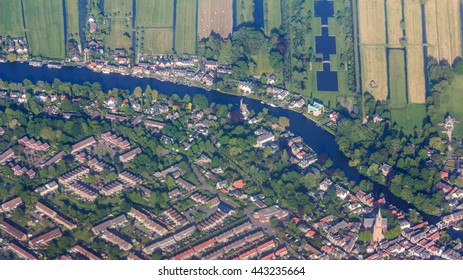 Aerial view of the residential areas and farmlands near Amsterdam, Netherlands