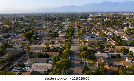 Aerial view of the residential district of Chino, California, USA.