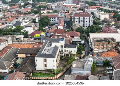 Aerial view of a residential district in the heart of Jakarta, Indonesia capital city