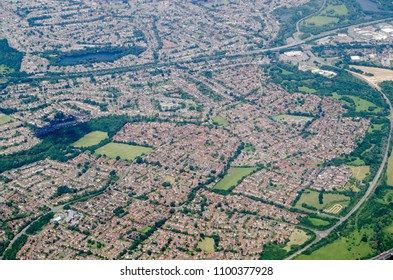 Aerial view of the residential Earley district in Reading, Berkshire.  Viewed on a sunny summer day.