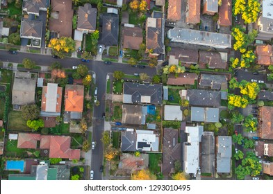 Aerial view of residential homes in a south eastern suburb of Melbourne, Australia