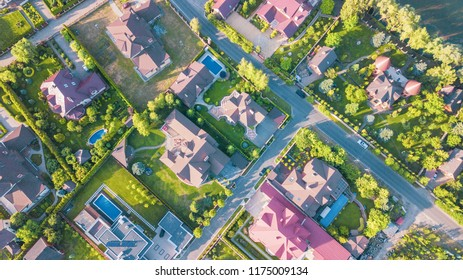 Aerial view of residential houses neighborhood in suburban area