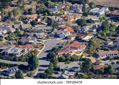 Aerial view of a residential neighborhood in north San Luis Obispo, central California