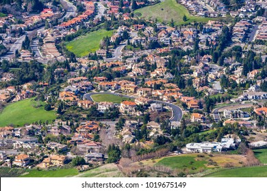 Aerial view of a residential neighborhood on a sunny day, Fremont, east San Francisco bay area, California