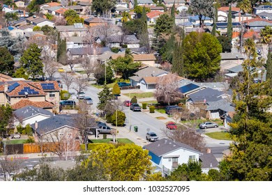 Aerial view of residential neighborhood in San Jose, south San Francisco bay area, California