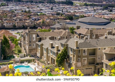 Aerial view of residential neighborhood, San Jose, California