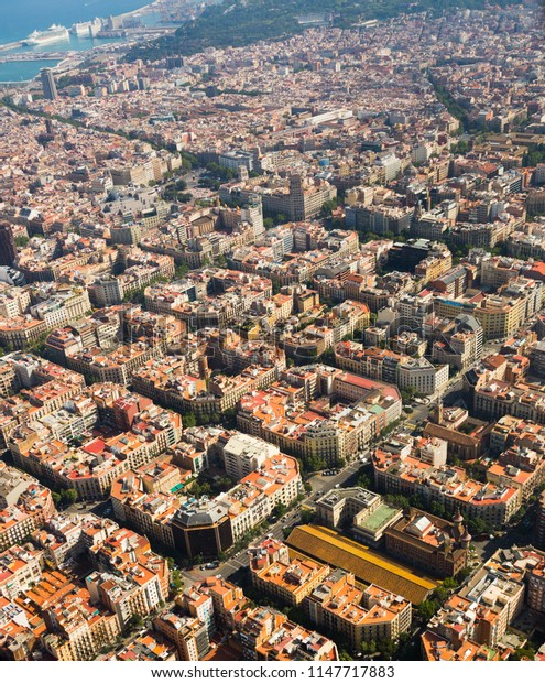 Aerial view at residential quarters of Barcelona in sunny day