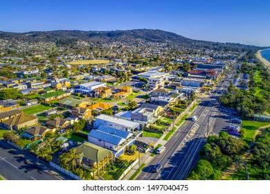 Aerial view of residential real estate in Dromana suburb on Mornington Peninsula, Victoria, Australia