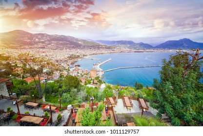 Aerial view resort city Alanya in southern coast of Turkey, amazing place for summer vacation in Mediterranean