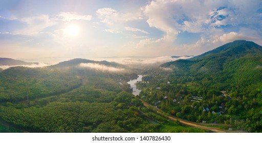 Aerial view of the resort is set amidst the mountains covered with clouds in themorning, Rayong Thailand