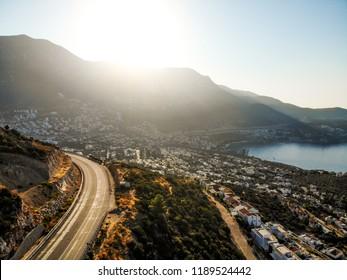 Aerial View of Resort Town Kalkan Mountain Way in Antalya Turkey