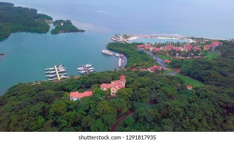 Aerial view of resorts and Caribbean Sea in the Parrot Tree area of Roatan, Honduras.