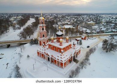 Aerial view of the Resurrection Cathedral on January evening (shooting from a quadrocopter). Staraya Russa, Russia