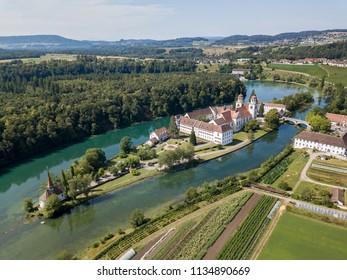 Aerial view of the Rheinau Abbey Islet on Rhine river, Switzerland
