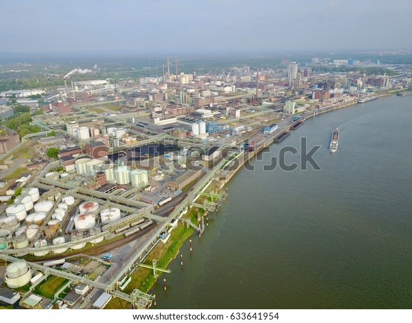 Aerial View Rhine River in Leverkusen Germany Chemical Production Plant