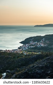 Aerial view of the Ria de Corcubion and Finisterre Cape from the top of Mount Pindo at dusk.