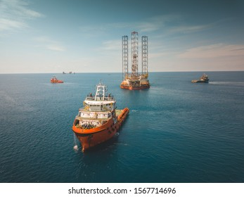 Aerial view of rig move operation at oil field