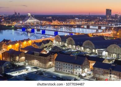 Aerial View of Riga at Dusk