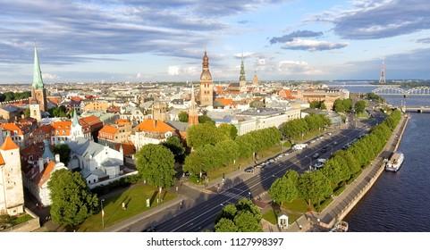 Aerial view of Riga at summer sunset, Latvia.