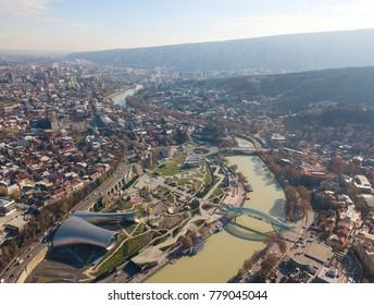 Aerial view of Rike Park. Bridge of Piece. Tbilisi. Georgia 2017 december
