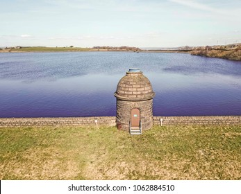 Aerial view of Ringstone Edge Reservoir, above Rishworth, West Yorkshire, UK