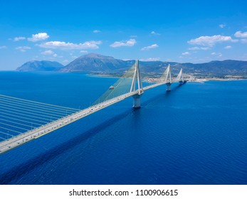 Aerial view of Rio Antirrio or Charilaos Trikoupis Bridge, one of the world's longest multi span cable stayed bridges and longest of the fully suspended type. It crosses the Gulf of Corinth near Patra
