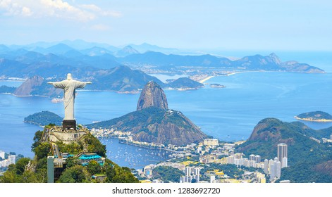 Aerial view of Rio de Janeiro with Christ Redeemer and Corcovado Mountain. Brazil. Latin America, horizontal - Shutterstock ID 1283692720