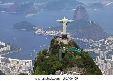 Aerial View of Rio De Janeiro and Christ the Redeemer