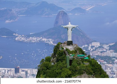 Aerial view of Rio de Janeiro with Christ Redeemer and Corcovado Mountain