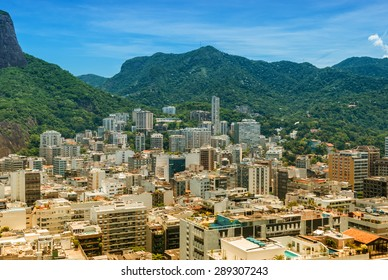 Aerial view Rio de Janeiro Brasil famous tourism travel destination  Beautiful brasilian coastline of Rio, city for the olympic games 2016. Image is filtered for vintage effect