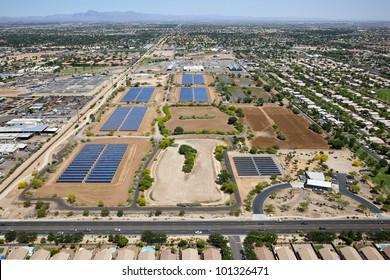Aerial view of riparian preserve in Gilbert, Arizona