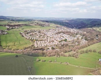Aerial view of Ripponden, Calderdale, West Yorkshire, UK